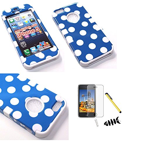 Fits Apple iPhone 5 Hard Plastic Snap on Cover White Polka Dots(Blue)/Solid White TUFF Hybrid AT&T, Cricket, Sprint, Verizon (does NOT fit Apple iPhone or iPhone 3G/3GS or iPhone 4/4S) (Iphone 3g White Housing compare prices)