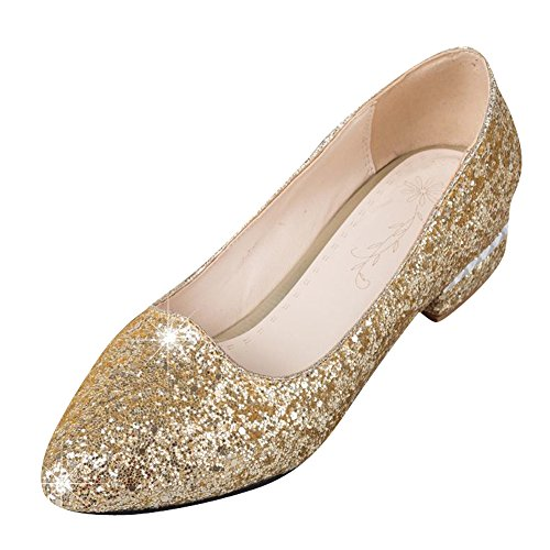 MissSaSa Damen Chunky heel Pointed Toe Pailletten Low cut Pumps Gold