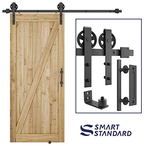 (6.6ft Heavy Duty Sliding Barn Door Hardware Kit, 6.6ft Single Rail, Black, (Whole Set Includes 1x Pull Handle Set & 1x Floor Guide) Fit 36