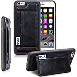 iPhone 6S Case, iPhone 6s Wallet Case, by SuprYze Protective Leather Wallet Case with Card Slot and Kickstand features, for Apple iPhone 6 / iPhone 6s (Black)