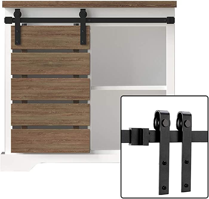 FREDBECK 3FT Cabinet Sliding Barn Door Hardware Kit Mini Single Door -TV Closet No Cabinet