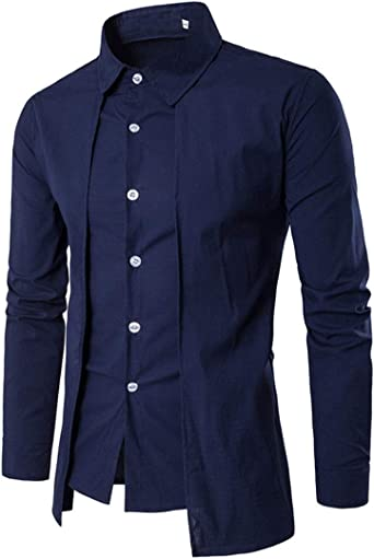 YUNY Mens Business Long-Sleeve Button Slim Fit Blouses and Tops Shirts Dark Blue M