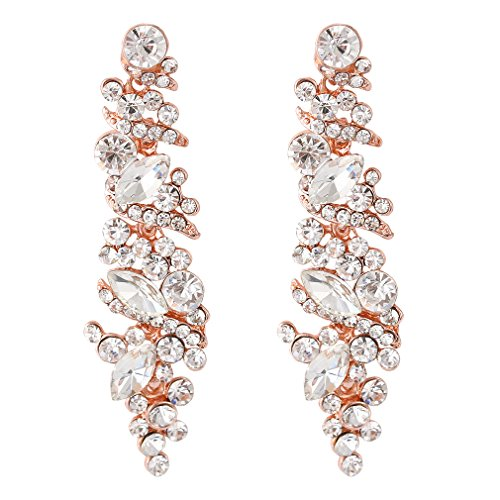 NLCAC Crystal Drop Rhinestone Earrings Dangle Chandelier Earrings for Women Wedding Jewelry Rose-Gold Plated Paved Clear Crystal (Pink Clear Crystal Drop Earrings)