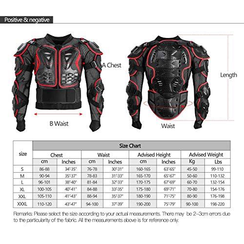 Amazon.fr   Veste Armure Moto Blouson Motard Gilet Protection Équipement de Moto  Cross Scooter VTT Enduro Homme ou Femme Rouge XL 13360be1dfde
