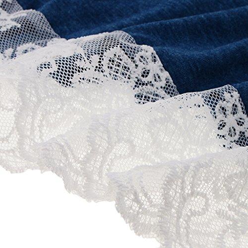 Vestido Cóctel Playa Encaje Flojo Encaje Abierta Azul Pleno DOLITY D Casual Vintage Midi 50s V pqfH5