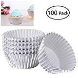 ROSENICE 100Pcs Aluminum Foil Cup Cupcake Aluminum Baking Cup Mini Cake Thickened Muffin Molds Baking Molds (Silver)