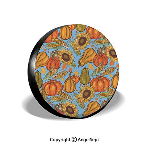 - Spare Tire Cover,Agriculture Theme Vegetable Pattern Corns Pumpkins and Sunflowers,Orange Yellow Pale Blue,for Jeep,Trailer, RV, SUV and Many Vehicle 14