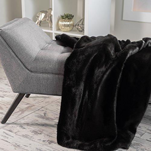 Black Faux Fur Throw - 9