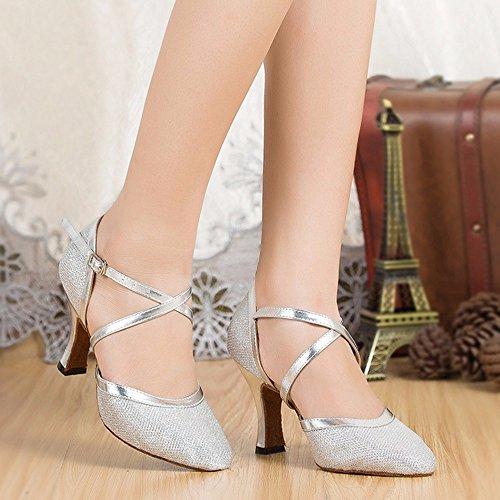Tanzschuhe Damen Zehen Silber Masocking Close Sandalen Soft aqwn54Z