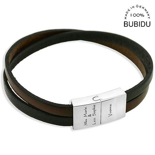 Infos für günstig hochwertiges Design Herren Armband mit Gravur Namensarmband Leder ...