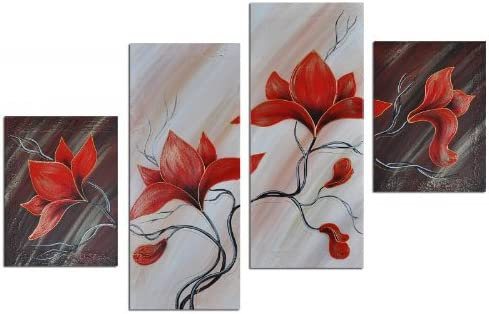 Noah Art-Modern Floral Art, Lighting Red Tulip Flower Picture 100 Hand Painted Abstract Paintings of Flowers on Canvas, 4 Piece Framed Natural Flower Wall Art for Bathroom Bedroom Home Decor