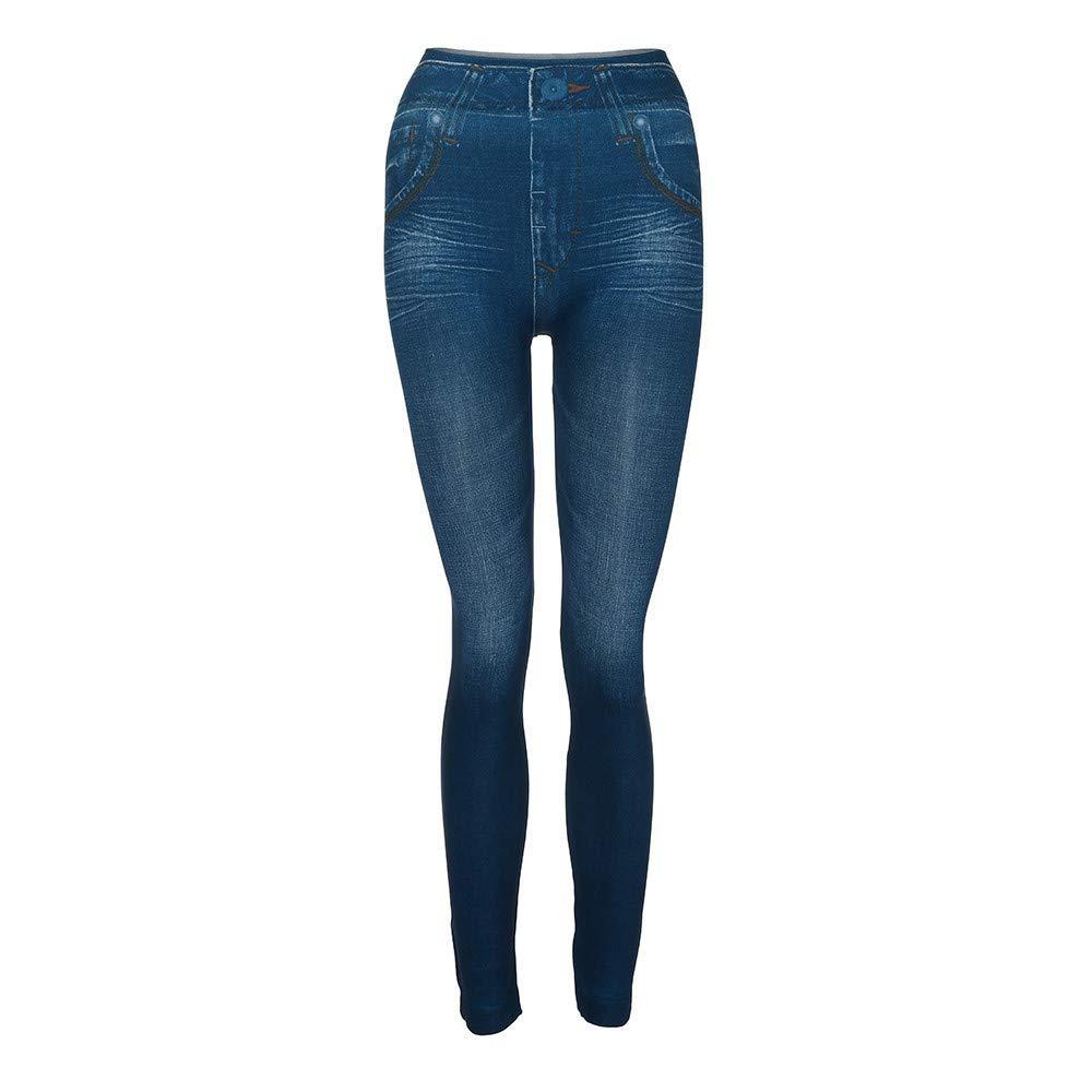Pants for Women, Women Denim Pants Pocket Slim Leggings Fitness Plus Size Leggins Length Jeans (Blue, 2XL)