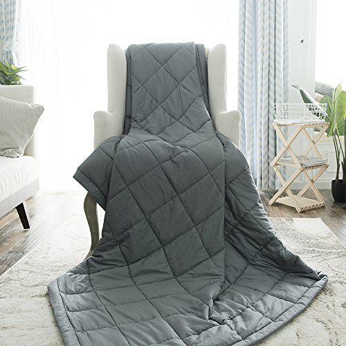 "BUZIO Weighted Blanket for Adults by (15 lbs for 100-150 lbs Persons),Perfect for Relaxation, Fall Asleep Faster and Better, Reduce Stress and Anxiety,Autism,Idea as a gift(60"" x 80"",Dark Grey) by BUZIO"