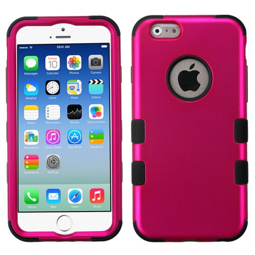 Asmyna Rubberized Tuff Hybrid Protector Case for iPhone 6 - Retail Packaging - Solid Hot Pink/Black