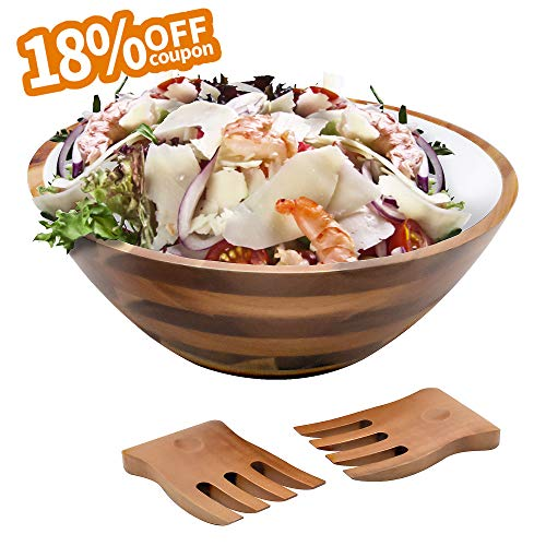 Acacia Wooden Salad Bowl with Utensils - 12.5 Inch Hardwood with Servers Set, Big Salad Bowl 3-Piece Set Paint White by AIDEA