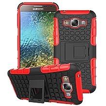 Samsung Galaxy E5 Case, SsHhUu Tough Heavy Duty Shock Proof Defender Cover Dual Layer Armor Combo Protective Hard Case Cover for Samsung Galaxy E5 E500F E500H 5.0 Inch (Red)