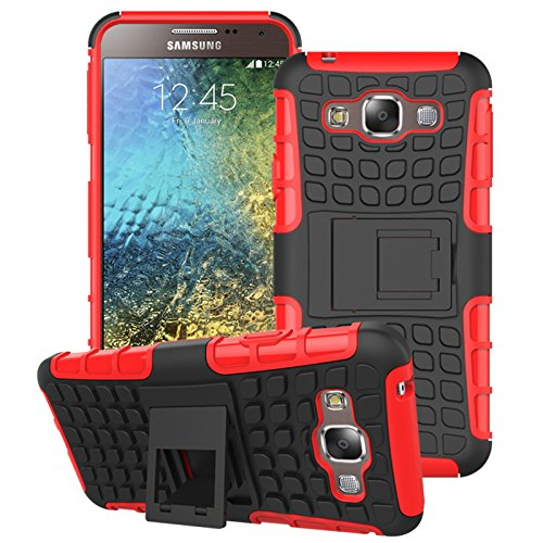 Mama Mouth Shockproof Heavy Duty Combo Hybrid Rugged Dual Layer Grip Cover case with Kickstand For Samsung Galaxy E5 E500 (With 4 in 1 Free Gift Packaged:Black Stylus Touch Pen,Black Silicone Fish Headset Wrap,Black Micro USB Port Anti Dust Plugs,Black 3.5mm Headphone Jack Anti Dust Plugs), Red
