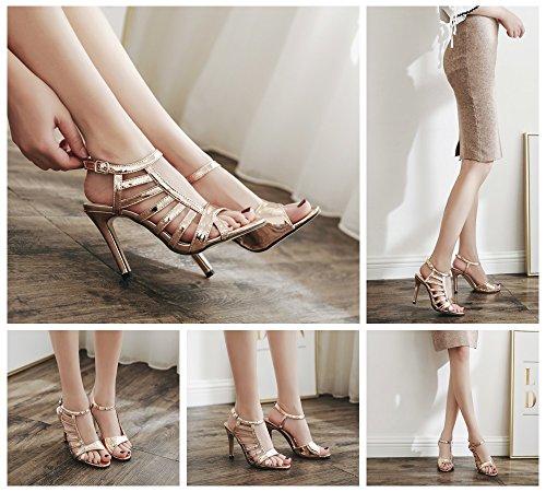 taille talons nouveaux creuses en couleur argent bout de à sexy Or 2018 cuir sandales Tmkoo chaussures verni 40 ouvert soirée or hauts 8wBRIn