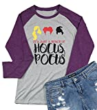It's Just A Bunch of Hocus Pocus Hallween T-Shirt Women's Long Sleeve Sanderson Sisters Top Tees Size M (Grey)