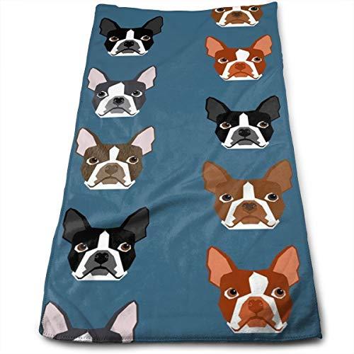 Gysdf7fst4 Boston Terriers Blue Faces Kitchen Dish Towels with Vintage Design for Kitchen Decor Super Absorbent 100% Natural Cotton Kitchen Towels,12