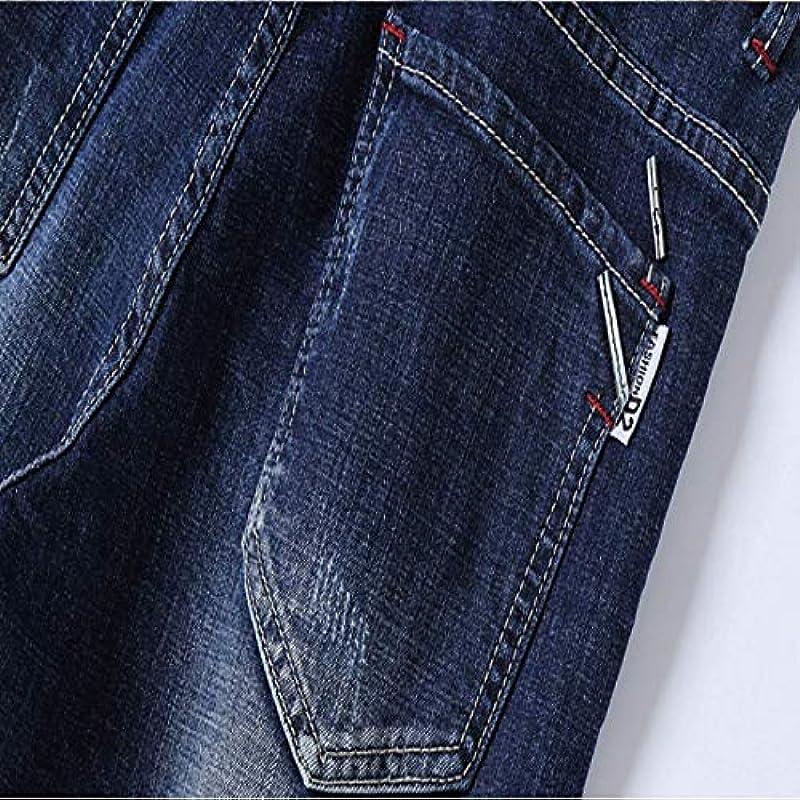 Męskie Jeans Summer Solid Color Endurance Loose Straight Stretchloch im koreanischen Stil Dünne Fünf-Punkt-Hose 34: Odzież