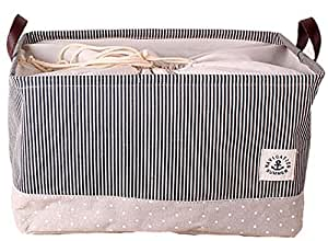 GreenForest Toy Basket Cotton Blend Linen Folding Storage Bin With Totes Drawstring Dust Cover Clothes Basket Gift Closet Drawer Handle Folding Basket (18.2x12.4x10.8 inches)