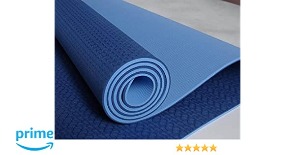 NEW GLOBAL YOGA MAT ECO - Friendly - TPE Twin Color Yoga Mat - Blue + Light Blue - 100% Thermoplastic Elastomer
