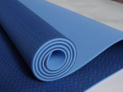 Yoga MAT - ECO - Friendly - TPE Twin Color Yoga Mat - Blue + Light Blue - 100% Thermoplastic Elastomer (Blue + Light Blue)