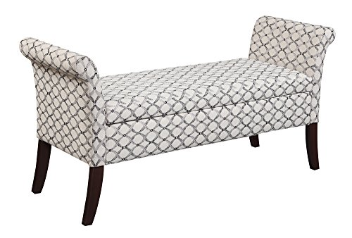 Bedroom Traditional Bench - Convenience Concepts Designs4Comfort Garbo Storage Bench, Ribbon Pattern Fabric