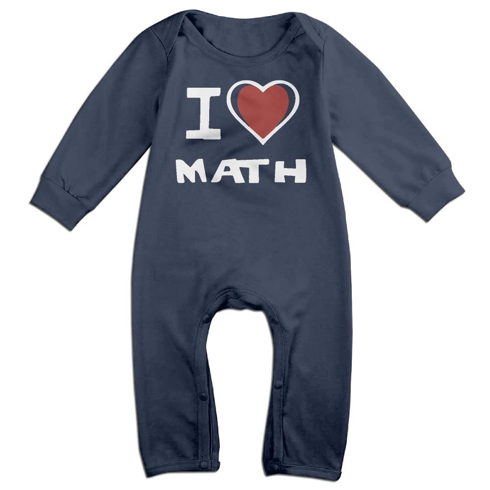 Newborn Baby Long Sleeved Coveralls I Love Math Baby Rompers