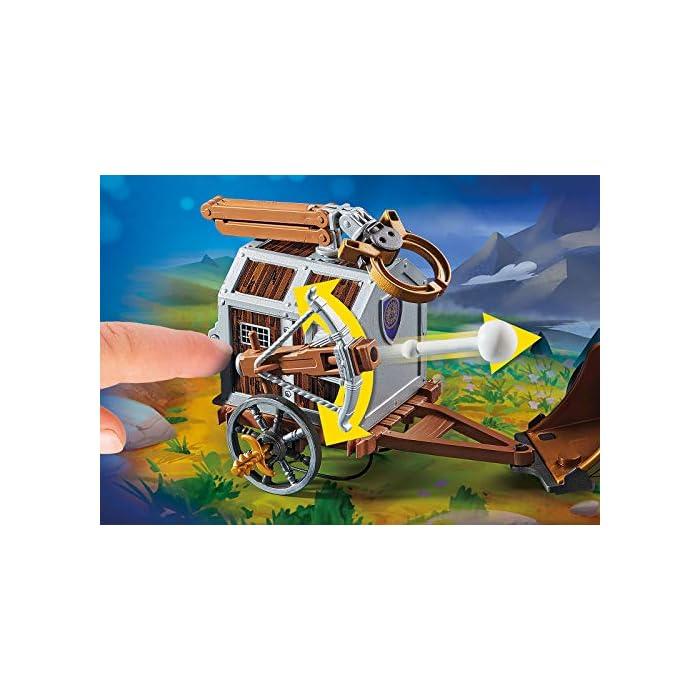 Diversión para los pequeños aficionados a la gran pantalla; PLAYMOBIL: THE MOVIE: Charlie con carro prisión, trampa y pasillo en la prisión para jugar Ballesta con función de disparo, puerta de prisión con cerradura, 4 figuras, carro con 2 caballos, etc., a juego con PLAYMOBIL: THE MOVIE Marla (70072) Juego de figuras para niños a partir de 5 años: óptimo para el tamaño de sus manos y bordes redondeados agradables al tacto