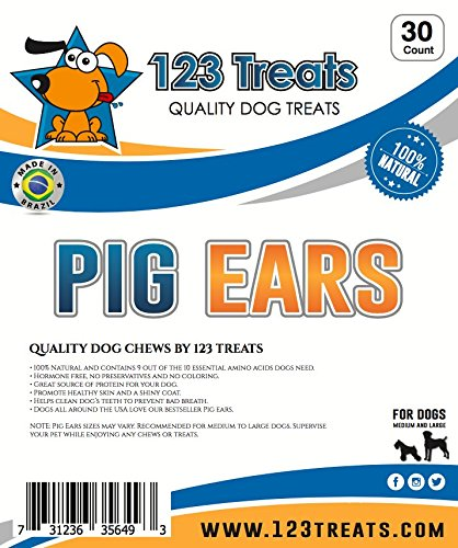 123 Treats Pig Ears for Dogs | Quality Pork Dog Chews 100% Natural Pork Ears Full of Protein for Your Pet (Brazil, 30 Count) by 123 Treats (Image #8)'