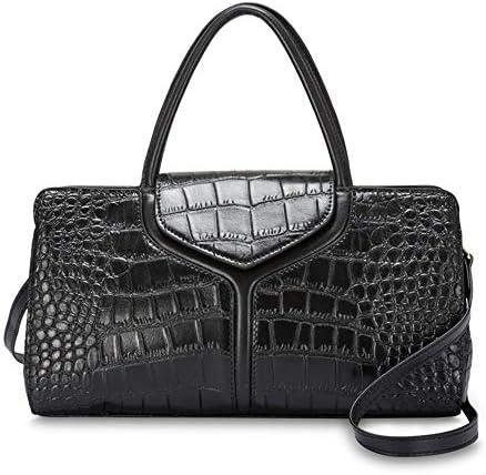 ハンドバッグ - トレンディ多目的ワニトート、ショルダーバッグメッセンジャーバッグ、牛革、33 * 13 * 21センチメートル よくできた (Color : Black)