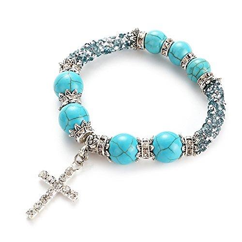 Bettrsong Beaded Cross Bracelets for Women Girl Turquoise Fashion Beaded Cross Diamond Bracelet