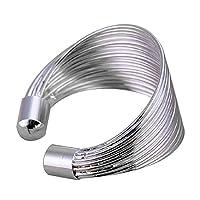 El anillo de plata 925 de la joyería noble de las mujeres de la moda fijó en muchos aros abre yardas libres