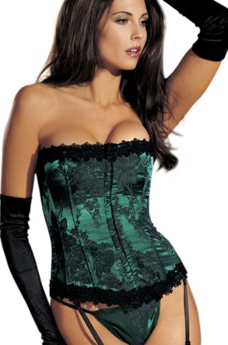 Plus Size Floral Tapestry Corset (Emerald-48) ()