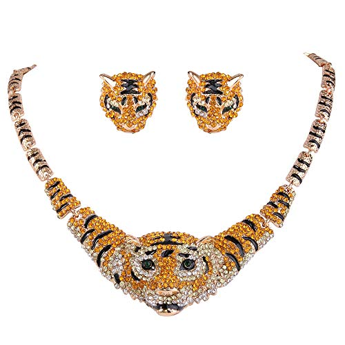 EVER FAITH Austrian Crystal Black Enamel Big Tiger Head Necklace Stud Earrings Set Brown Gold-Tone