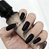 BloomingBoom False Nail Long Coffin 24 Pcs 12 Size False Nails Full Cover Fake Nail Press on Salon Pre Design Women Ballerina Pure Color Already Colored Elegant Matte Black