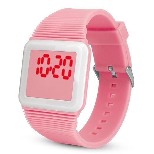 QinMM Deporte Muñeca Relojes Digitales LED Tecnología para Niños Niñas pulsera (Rosa)