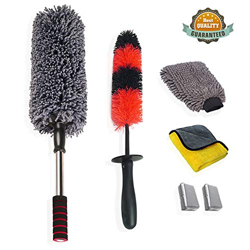upra Car Duster Kit 6pcs, Multipurpose Car Cleaning Tool Kit - Professional Exterior/Interior Car Wash Brush Kit, Excellent for Home Office Auto Motorcycle Truck