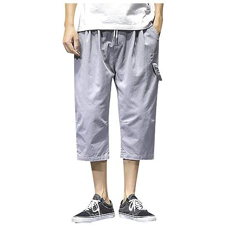 ZODOF pantalones de lino para hombre Casual Retro Suelto Algodón ...