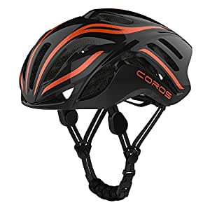 Coros Linx Smart Cycling Helmet, Black/Orange Gloss, Medium
