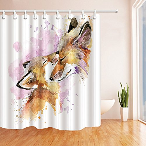 NYMB Motherhood Decor, Watercolor Fox and Baby Fox Shower Curtain, Mildew Resistant Polyester Fabric Bathroom Decorations, Bath Curtains Hooks Included, 69X70 inches, Brown (Multi26) ()