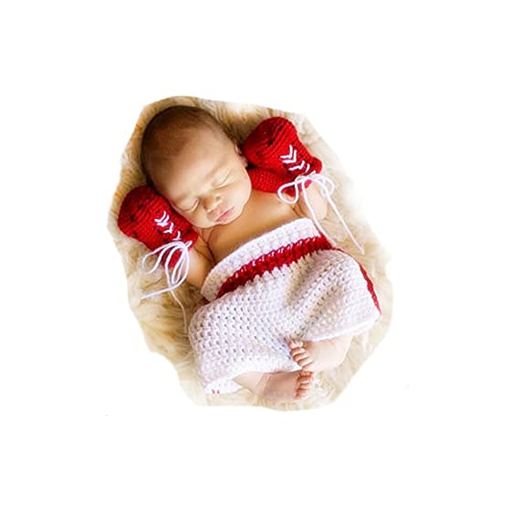 Besutana cute newborn baby boxer photography props outfits cool infant props hat pant unisex