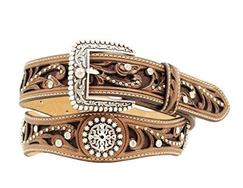 Rhinestone Belt Western Brown - Ariat Women's Scalloped Hand Tooled And Embellished Western Belt Brown Medium