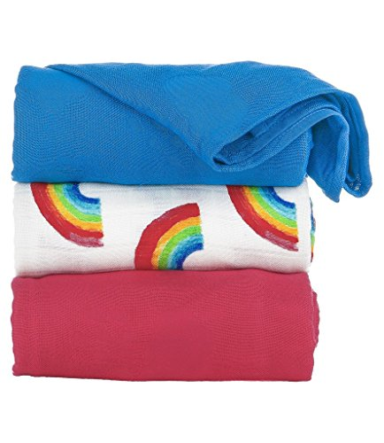 Tula Baby Blanket Set, 3 Pack of 47x47 Inches, 100% Viscose from Bamboo Unisex Swaddle Blankets – Happy Skies (Rainbows, Blue, Fuchsia)