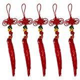 Baosity 5 Pieces Red Handmade Chinese Knots for Bau Cucurbit Flute Hulusi Decoration