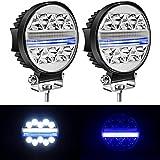 "Yorkim 4.5"" LED Pods, 2-Pack Off Road LED Light Bar Spot Flood Combo Round Blue I-Shape Work Light Fog Lights Driving Lights for Truck Jeep SUV ATV UTV Pickup with Flash Strobe Fucntion"