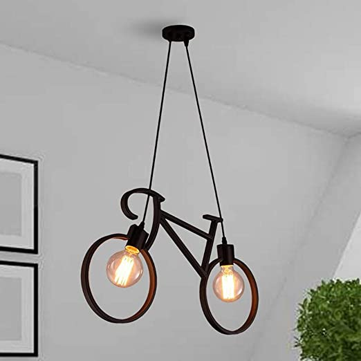 Solenzo - Lámpara de techo para bicicleta de madera, 2 bombillas ...