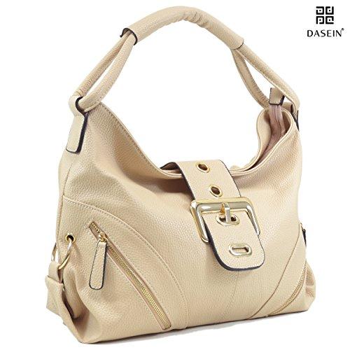 Dasein Classic Large Buckle Hobo Shoulder Bag Handbag with Multi Pockets